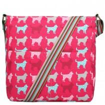 L1104NDG--- Miss Lulu Canvas Square Bag Dog Plum