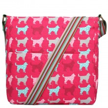 L1104NDG - Miss Lulu Canvas Square Bag Dog Plum