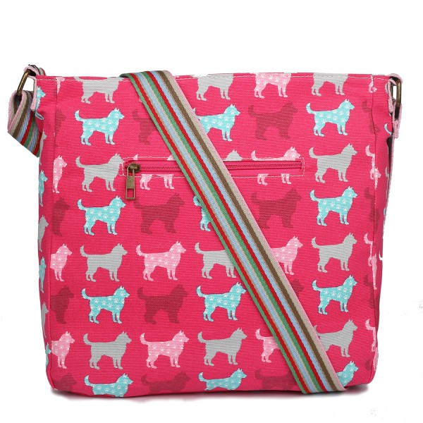 L1104NDG - Miss Lulu Canvas Square Bag Dog Plum