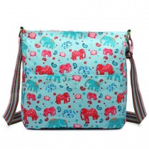L1104NEW-E - Miss Lulu Canvas Square Bag New Elephant Light Blue