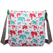 L1104NEW-E - Miss Lulu Canvas Square Bag Elephant Beige
