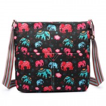 L1104NEW-E - Miss Lulu Canvas Square Bag Elephant Black