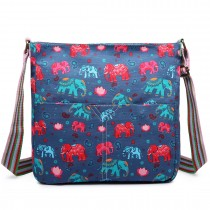 L1104NEW-E - Miss Lulu Canvas Square Bag New Elephant Navy