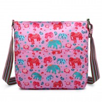 L1104NEW-E - Miss Lulu Canvas Square Bag New Elephant Pink