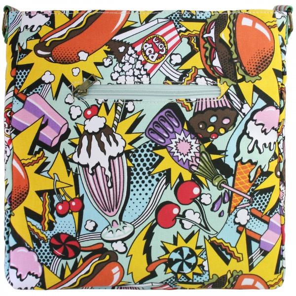 L1104CN - Miss Lulu Canvas Square Bag Cartoon Food Yellow