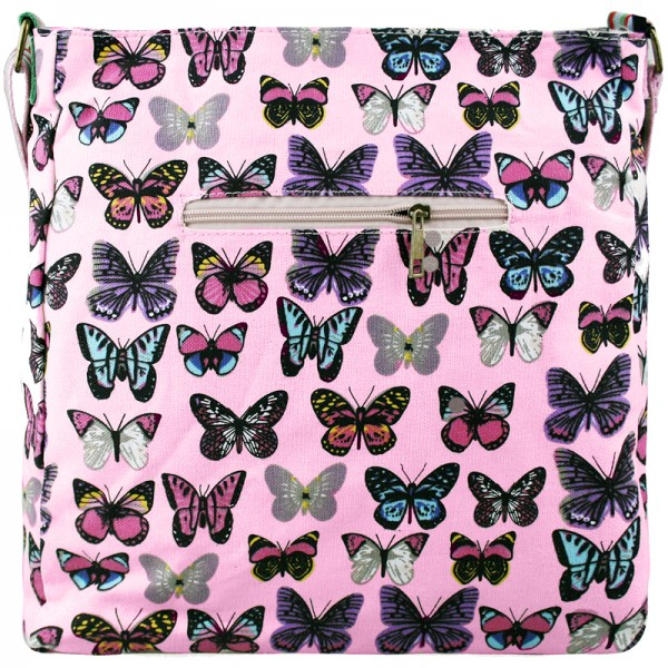 L1104B - Miss Lulu Canvas Square Bag Butterfly Light Pink