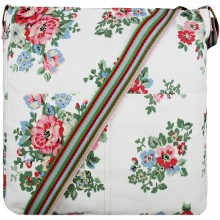 L1104F - Miss Lulu Canvas Square Bag Flower Polka Dot - White