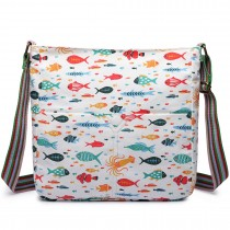 L1104SH... Miss Lulu Canvas Square Bag Fish Beige