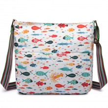 L1104FISH - Miss Lulu Canvas Sac carré FISH beige