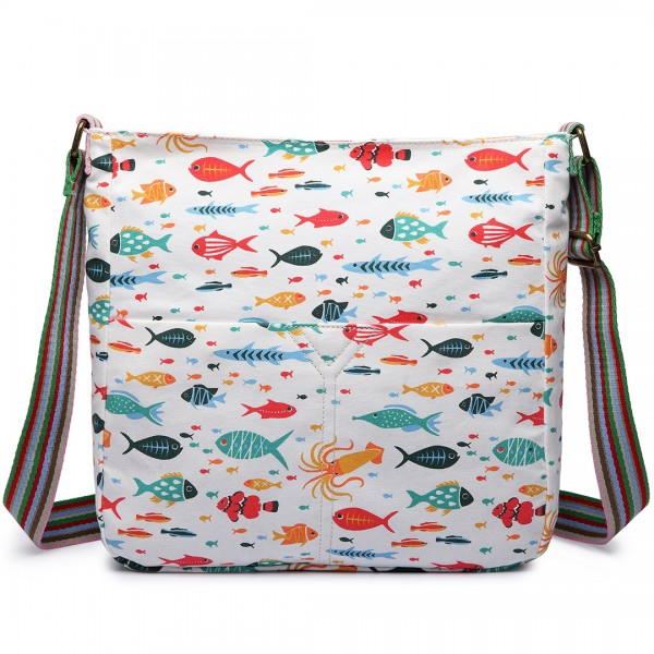 L1104SH - Miss Lulu Canvas Square Bag Fish Beige
