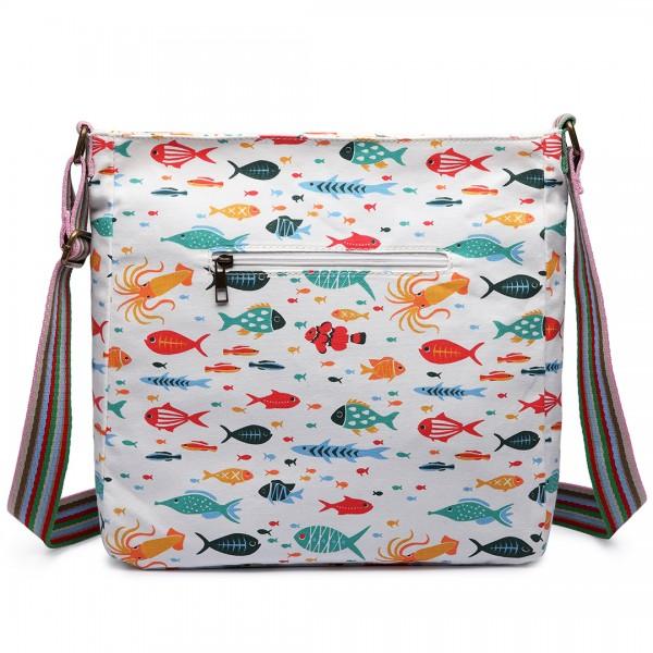 L1104SH - Miss Lulu Canvas Square Bag Fish Beige