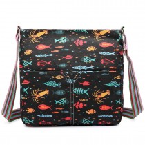 L1104FISH - Miss Lulu Canvas Square Bag FISH black