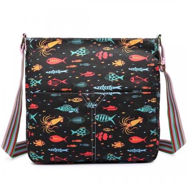 L1104SH - Miss Lulu Canvas Square Bag Fish Black