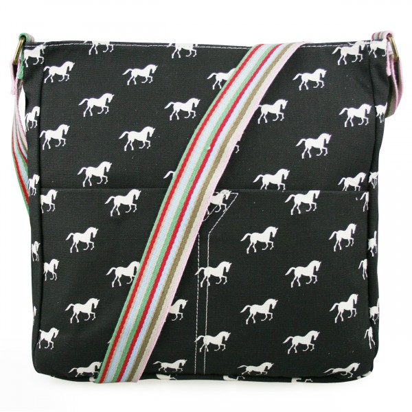 L1104H - Miss Lulu Canvas Square Bag Horse Black