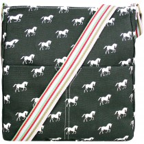 L1104H - panna Lulu Canvas Square Bag Horse Black