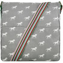L1104H - panna Lulu Canvas Square Bag Horse Grey