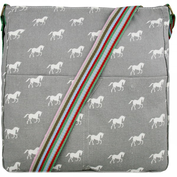 L1104H - Miss Lulu Canvas Square Bag Horse Grey