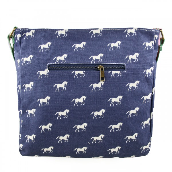 L1104H - Miss Lulu Canvas Square Bag Horse Navy