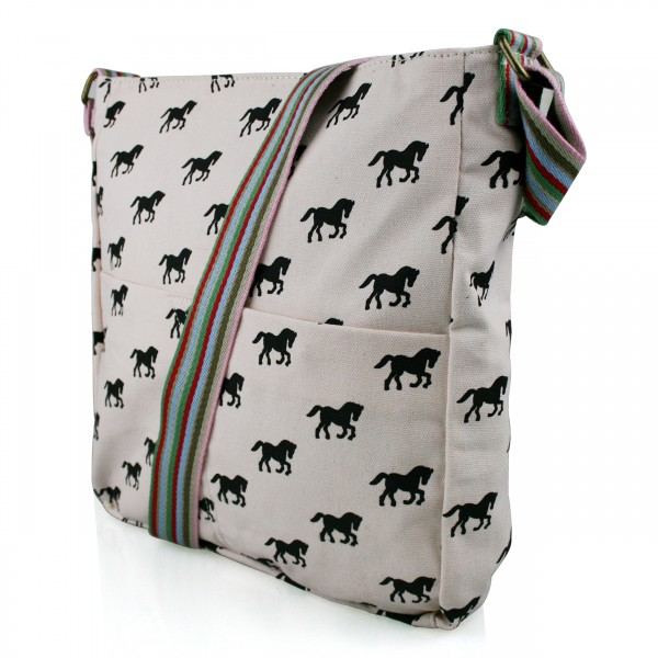 L1104H - Miss Lulu Canvas Square Bag Horse Pink