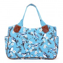 L1105-16J - Miss Lulu Oilcloth Tote Bag Bird Print Blue