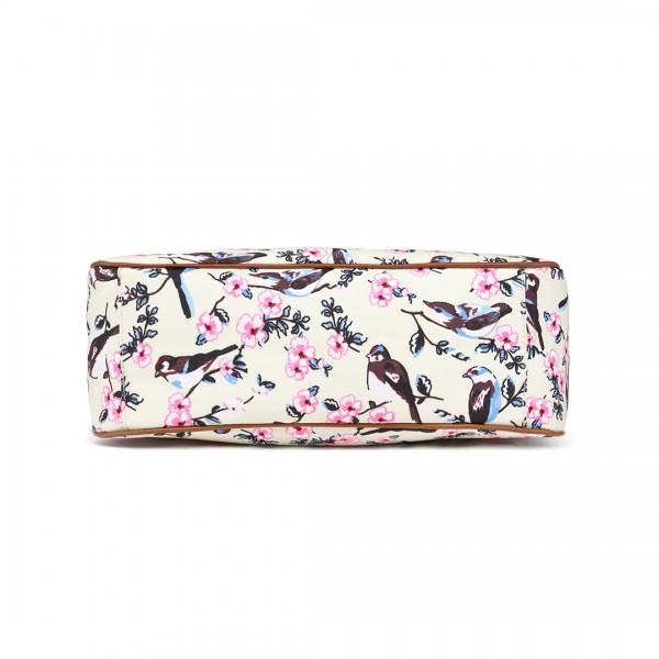 L1105-16J - Miss Lulu Oilcloth Tote Bag Bird Print Beige