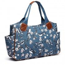 L1105-16J D BE Miss Lulu Oilcloth Tote Bag Bird Print Dark Blue