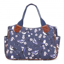 L1105-16J - Miss Lulu Oilcloth Tote Bag Bird Print Navy