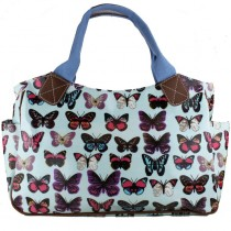 L1105B --Miss Lulu Oilcloth Tote Bag Butterfly Light Blue
