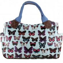 L1105B - Miss Lulu Oilcloth Tote Bag Butterfly Light Blue