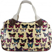 L1105B - Miss Lulu Oilcloth Tote Bag Butterfly Beige