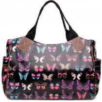 L1105B - Miss Lulu Oilcloth Tote Bag Butterfly Black