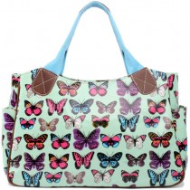 L1105B --Miss Lulu Oilcloth Tote Bag Butterfly Green