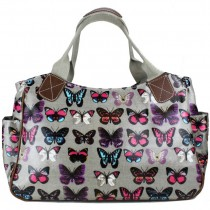 L1105B - Miss Lulu Oilcloth Tote Bag Butterfly Grey