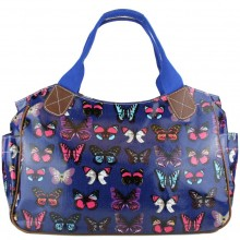 L1105B - Miss Lulu Oilcloth Tote Bag Butterfly Navy