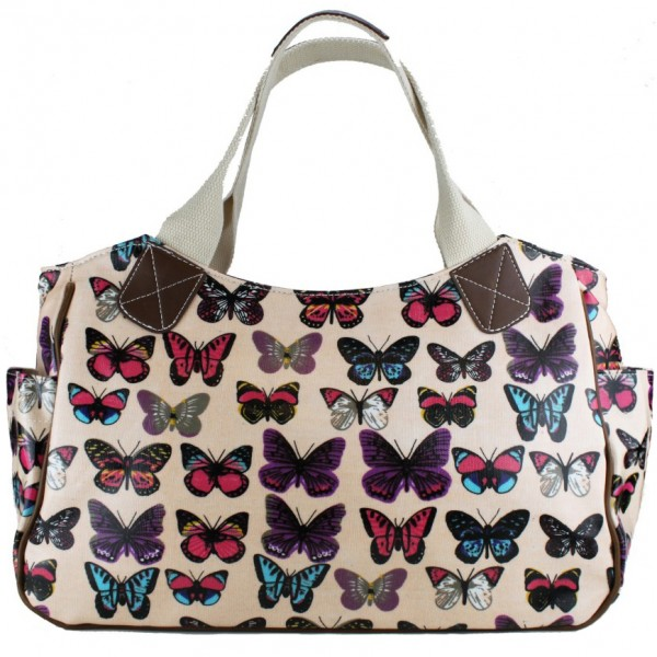 L1105B - Miss Lulu Oilcloth Tote Bag Butterfly Pink