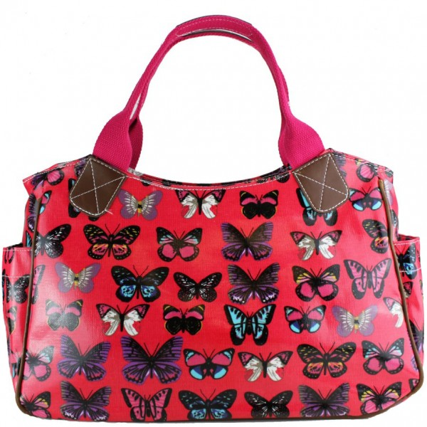 L1105B - Miss Lulu Oilcloth Tote Bag Butterfly Plum
