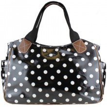 L1105D2 - Miss Lulu Oilcloth Tote Bag Polka Dot Black