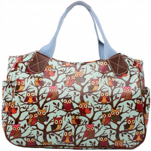 L1105W - Miss Lulu Oilcloth Tote Bag Owl Blue