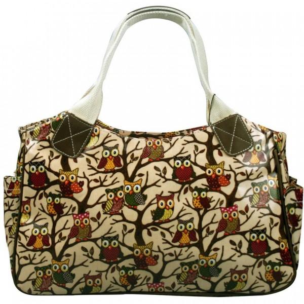 L1105W - Miss Lulu Oilcloth Tote Bag Owl Beige