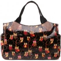 L1105W - Miss Lulu Oilcloth Tote Bag Owl Black