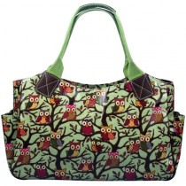 L1105W - Miss Lulu Oilcloth Tote Bag Owl Green