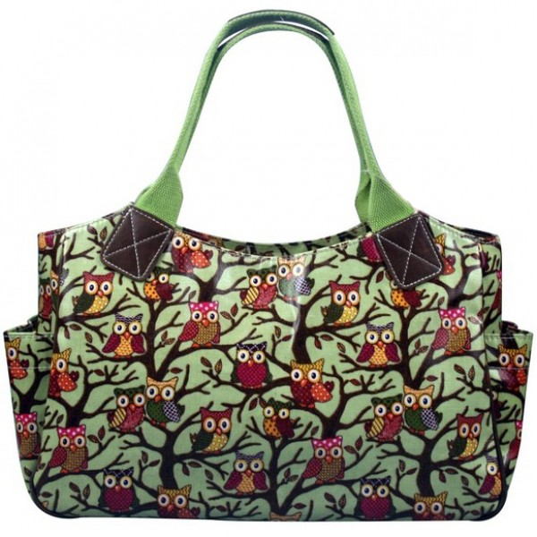 L1105W - Miss Lulu Oilcloth Tote Bag Owl Green
