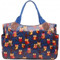 L1105W - Miss Lulu Oilcloth Tote Bag Owl Navy