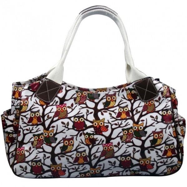 L1105W - Miss Lulu Oilcloth Tote Bag Owl White