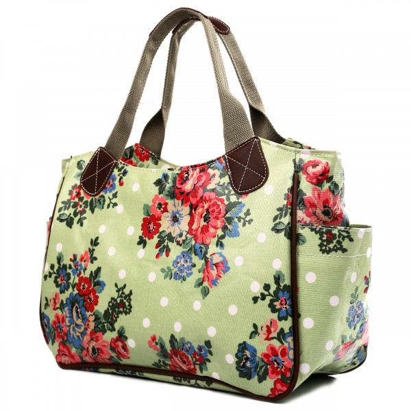 L1105F - Miss Lulu Oilcloth Tote Bag Flower Polka Dot Green