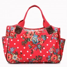 L1105F - Miss Lulu Oilcloth Tote Bag Flower Polka Dot Plum
