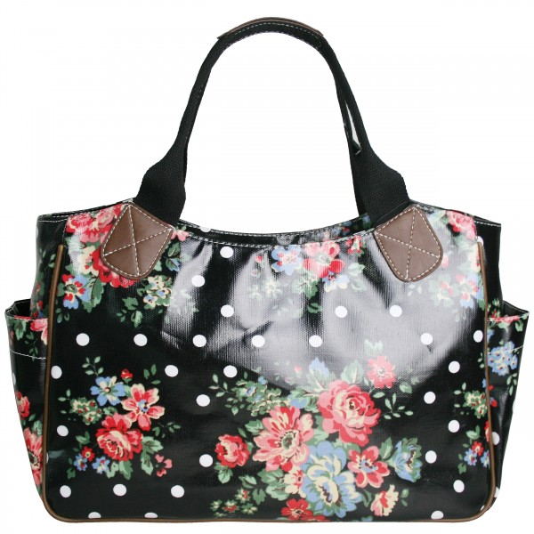 L1105F - Miss Lulu Oilcloth Tote Bag Flower Polka Dot Black