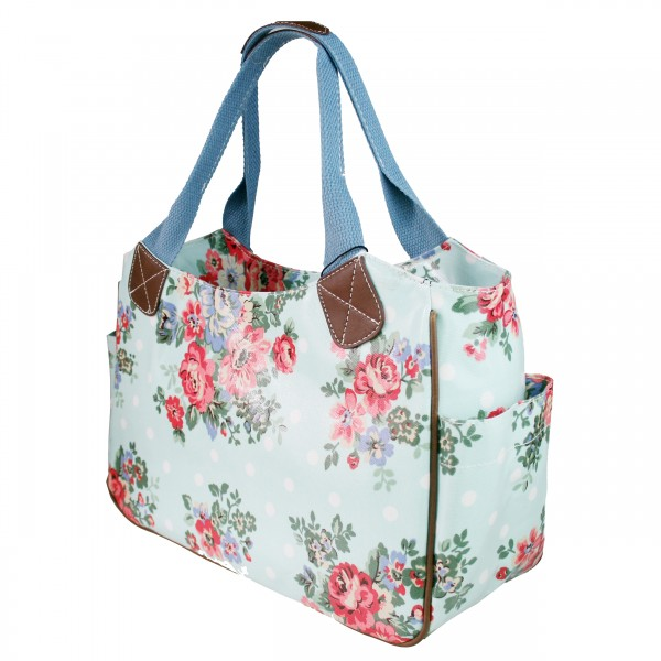L1105F - Miss Lulu Oilcloth Tote Bag Flower Polka Dot Blue