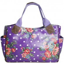 L1105F - Miss Lulu Oilcloth Tote Bag Flower Polka Dot Purple