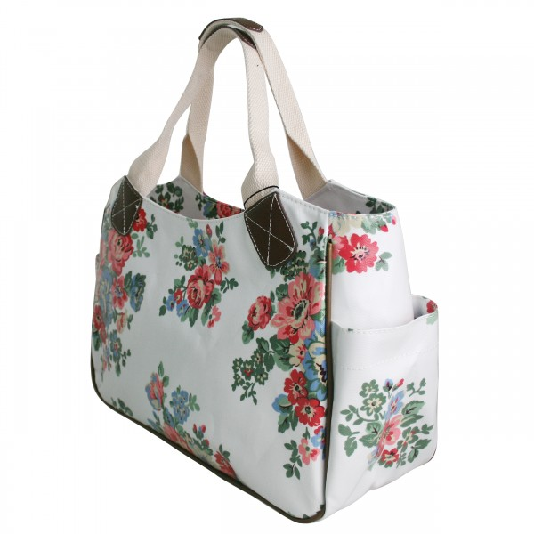 L1105F - Miss Lulu Oilcloth Tote Bag Flower Polka Dot White